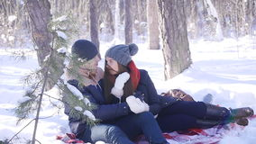 Young and beautiful couple in love walking in the winter woods. They kiss and hug. The girl red scarf stock video footage