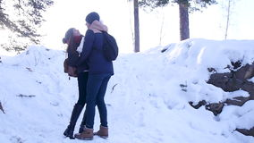 Young and beautiful couple in love walking in the winter woods stock video