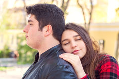 Young beautiful couple relaxing outdoors Royalty Free Stock Photography