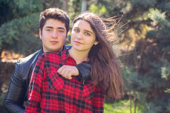 Young beautiful couple relaxing outdoors Royalty Free Stock Photos