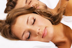 Young beautiful couple sleeping Stock Photo