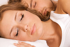 Young beautiful couple sleeping Royalty Free Stock Image