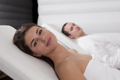 Young Beautiful Couple in the Spa Royalty Free Stock Photography