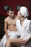 Young Beautiful Couple in the Spa Royalty Free Stock Images