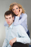 Young beautiful couple in studio Royalty Free Stock Images
