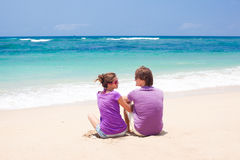 Young beautiful couple on tropical bali Stock Images