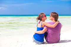 Young beautiful couple on tropical boracay beach.honeymoon Royalty Free Stock Images