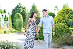 Young beautiful couple walking together Royalty Free Stock Images