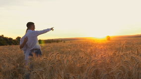 Young beautiful couple in a wheat field. Silhouette on sunset background. Slow motion. Beauty Couple relaxing on wheat field together. Teenage girlfriend and stock video