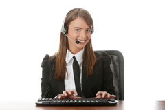 Young beautiful customer service operator girl Stock Photo