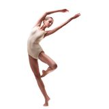 Young beautiful dancer in beige swimsuit Royalty Free Stock Photography