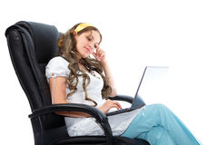 Young beautiful doctor gets good news Royalty Free Stock Images