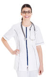 Young beautiful doctor, nurse with stethoscope. Stock Images