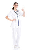 Young beautiful doctor, nurse with stethoscope. Royalty Free Stock Images