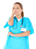 Young beautiful doctor is worried Stock Photos