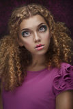 Young Beautiful Doll Girl With Curly Hair Royalty Free Stock Image