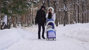 Young beautiful dressed parents walking on snow-covered park with your child sitting in the baby carriage by ski. Brunette straightens her hair and smiling stock video