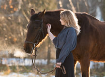 Young beautiful elegance woman posing with horse Stock Photography