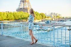 Young beautiful and elegant Parisian woman Stock Photos