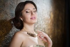 Young beautiful elegant woman. In evening gold dress with beautiful hairdo Stock Images