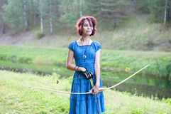 Young and beautiful elf walks Creative color, fashionable toning stock photography