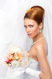 Young, beautiful and emotional bride Stock Images