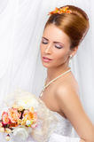 Young, beautiful and emotional bride Royalty Free Stock Image