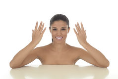 Young beautiful and exotic hispanic woman smiling happy and relaxed isolated on white Stock Image