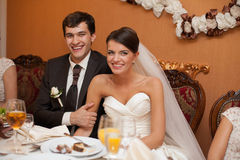 Young beautiful extravagant wedding couple Stock Image