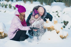 Young beautiful family in bright clothes choosing a Christmas tree, snow, lifestyle, winter holidays Royalty Free Stock Image