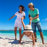 Young beautiful family have fun on tropical Royalty Free Stock Image