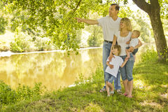 Young beautiful family outdoors Stock Images