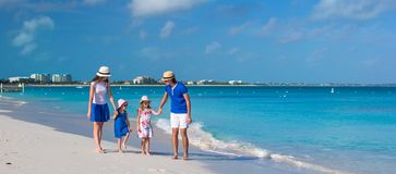 Young beautiful family with two kids on caribbean Stock Image