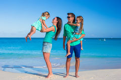 Young beautiful family with two kids on summer vacation Stock Photo