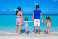 Young beautiful family with two kids on summer Royalty Free Stock Photography