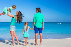 Young beautiful family with two kids on tropical vacation Royalty Free Stock Photography