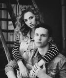 Young beautiful fashion couple wearing jeans clothes in daylight Royalty Free Stock Images