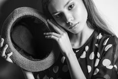 Young beautiful fashion model girl Asian girl with hat Stock Photo