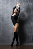 Young and beautiful fashion model posing and dancing Royalty Free Stock Photos