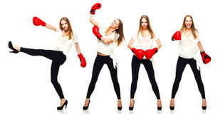 Young beautiful fashion woman boxing Stock Images