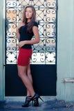 Young beautiful fashion woman by iron gate Stock Photo
