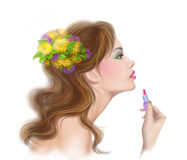 Young beautiful fashionable woman applying lipstick. Make-up. Lipstick. illustration Stock Photos