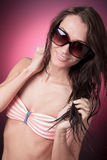 A young beautiful female with bikini clothes Stock Photo