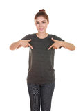 Young beautiful female with blank t-shirt Stock Photo