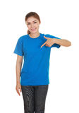 Young beautiful female with blank t-shirt Stock Images