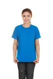 Young beautiful female with blank t-shirt Stock Photos