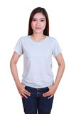 Young beautiful female with blank t-shirt Royalty Free Stock Images
