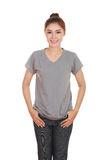 Young beautiful female with blank t-shirt Royalty Free Stock Photo