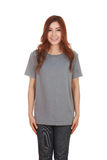 Young beautiful female with blank t-shirt Stock Image