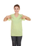 Young beautiful female with blank t-shirt Royalty Free Stock Photography